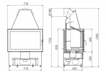 Kaminbausatz Haas+Sohn Arlberg / Komfort-IV 180.18 schw. 8kW raumluft Bild 3