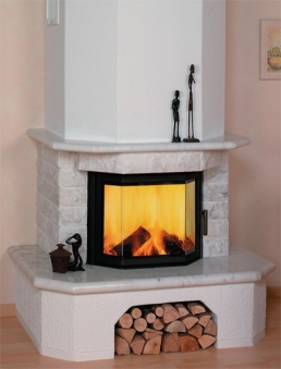 Kaminbausatz Hark Aspen mit Radiante 800/45 K Marmor Naturweiß 8 kW Bild 1