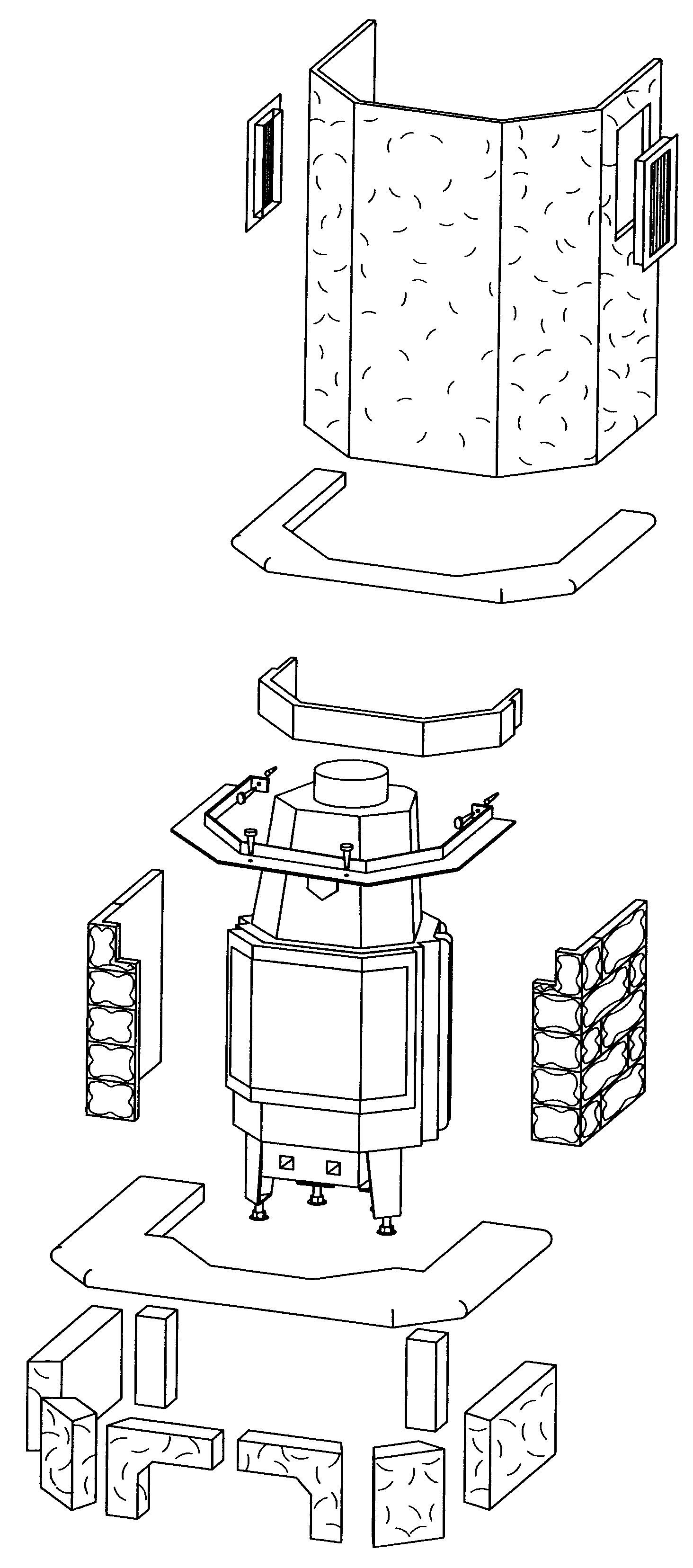 Kaminbausatz Hark Aspen mit Radiante 800/45K Marmor Classico-Beige 8kW Bild 2
