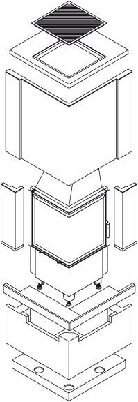 kaminbausatz hark easy 500 mit regal u radiante 500 57 k. Black Bedroom Furniture Sets. Home Design Ideas
