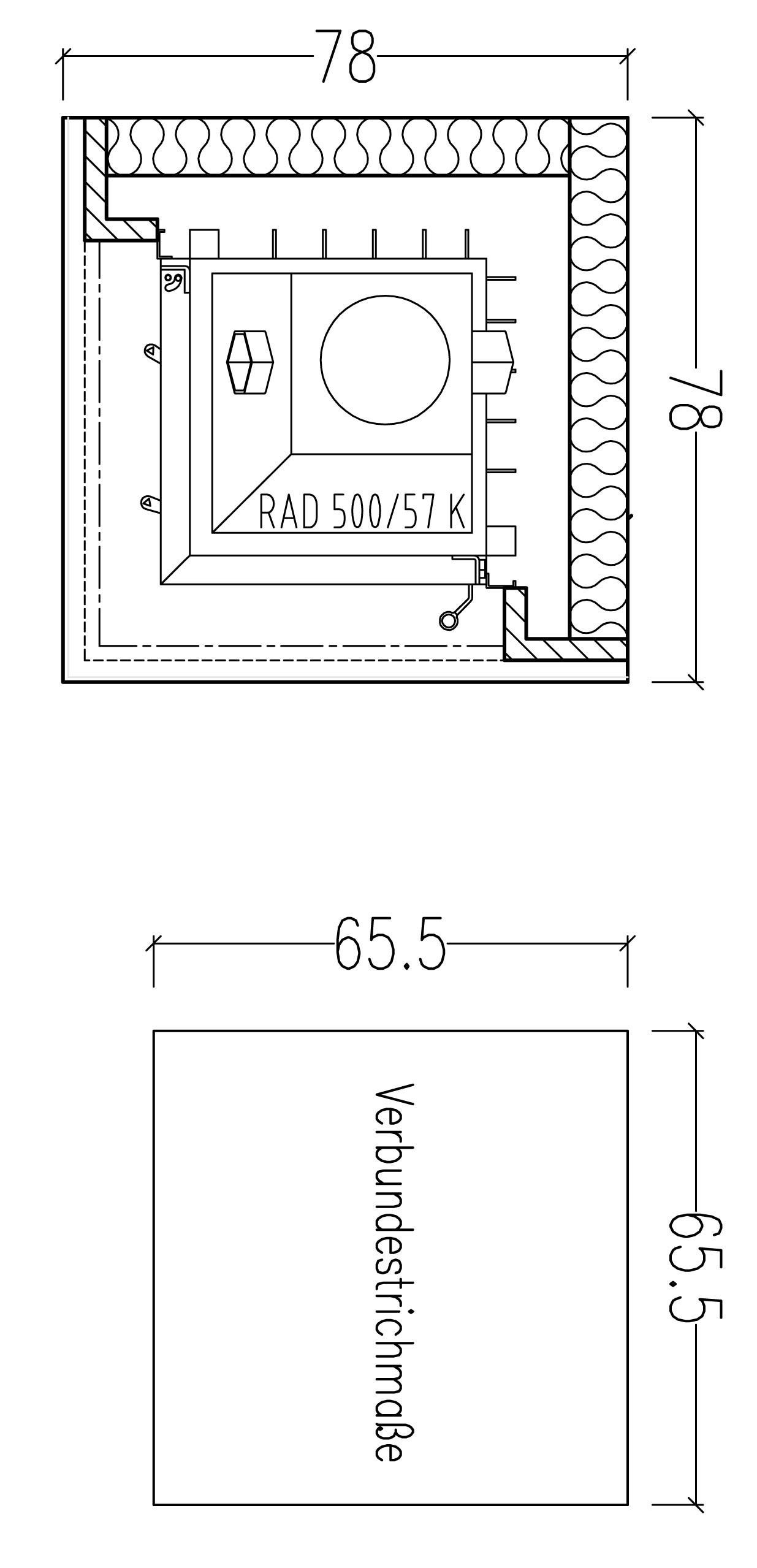 Kaminbausatz Hark Easy 500 mit Regal und Radiante 500/57K Granit 5 kW Bild 2