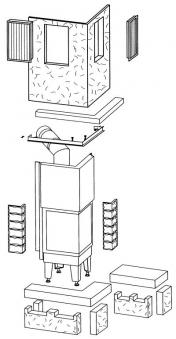 Kaminbausatz Hark Nebraska mit Radiante 500/57 K Marmor Bank links 8kW Bild 2