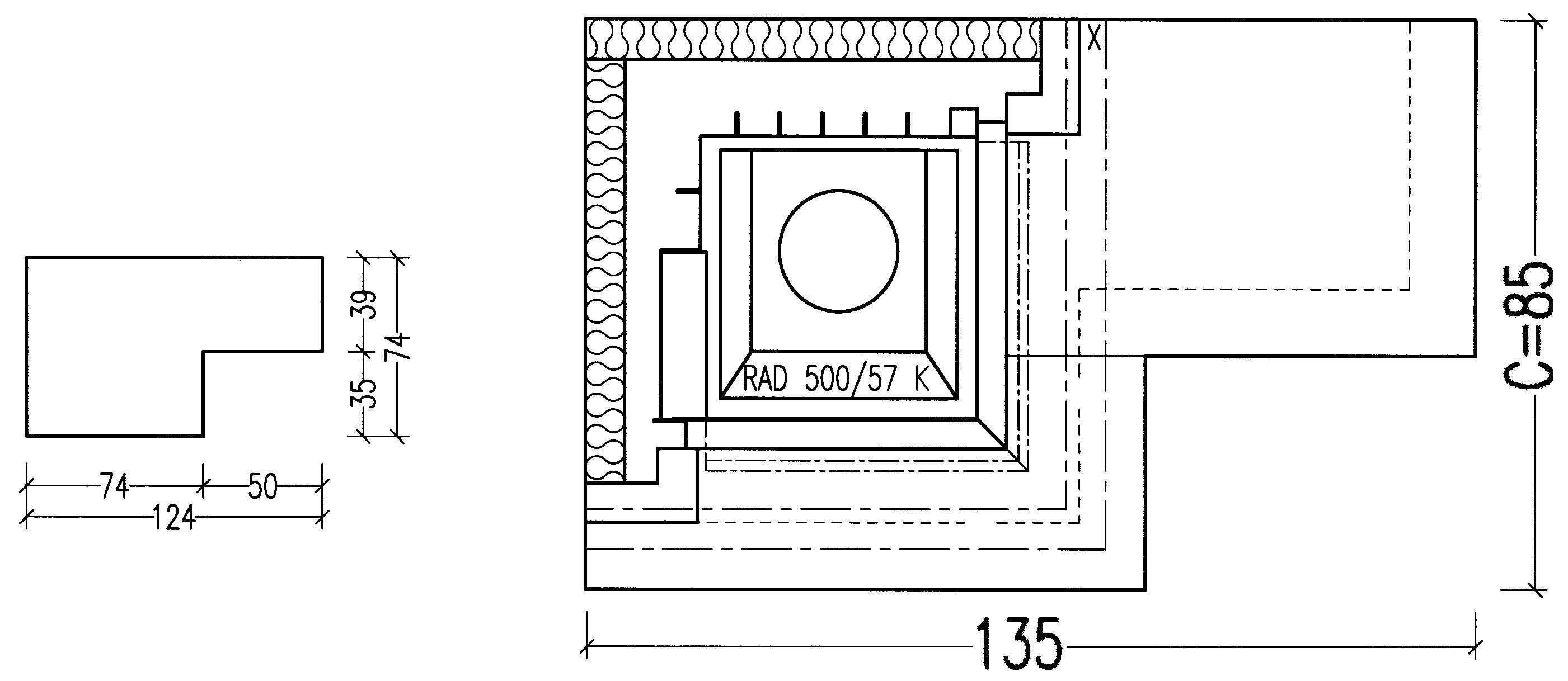 Kaminbausatz Hark Nebraska mit Radiante 500/57K Marmor Bank rechts 5kW Bild 2
