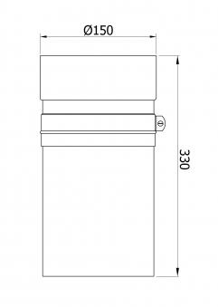 Ofenrohr / Rauchrohr Senotherm schwarz Ø150mm Länge 330mm einschiebbar
