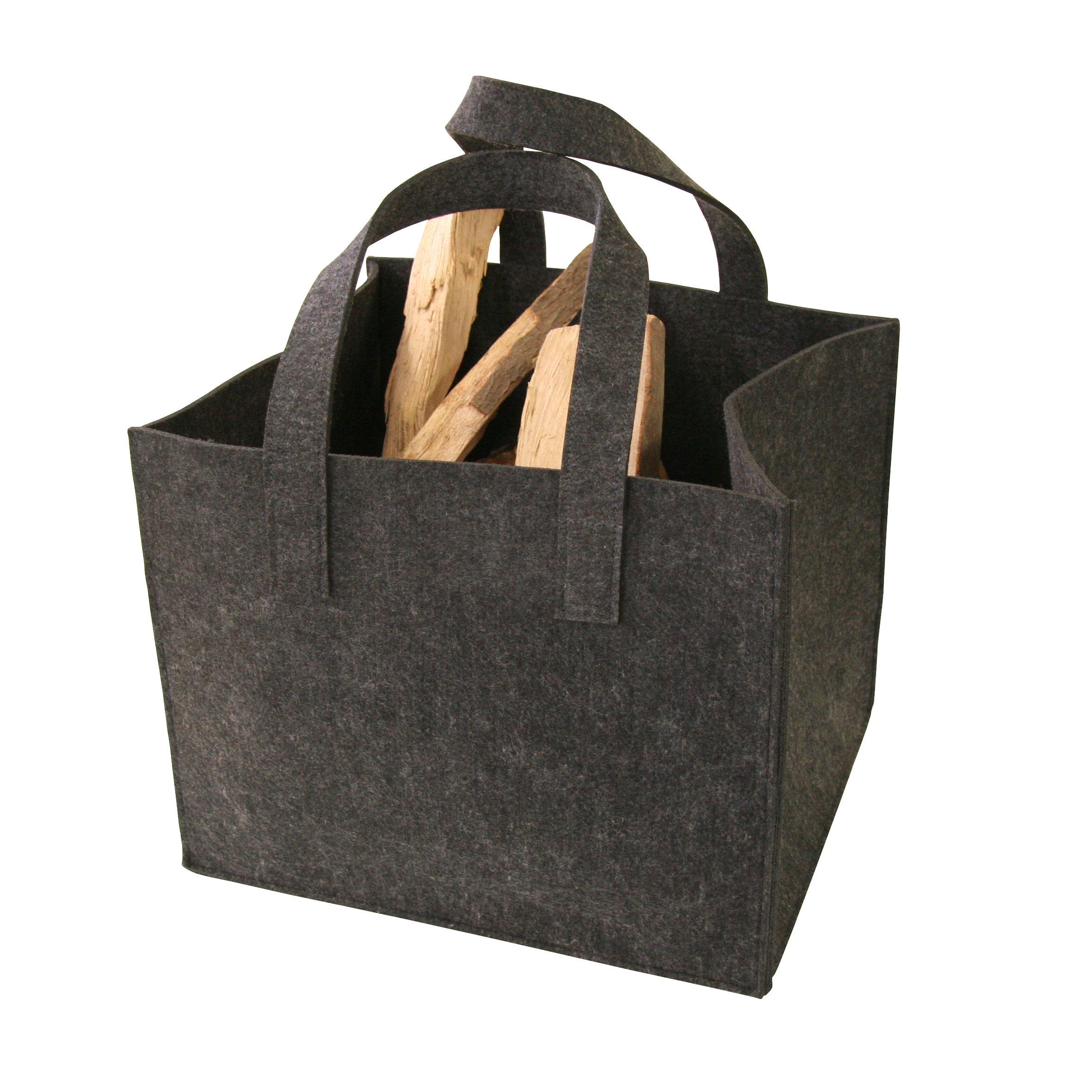 holzkorb filztasche f r kaminholz anthrazit 36x42x34cm bei. Black Bedroom Furniture Sets. Home Design Ideas