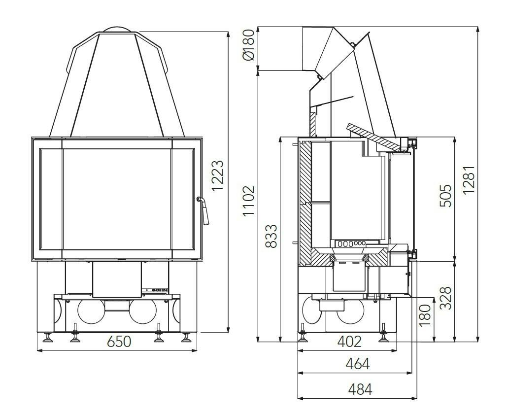 Kamineinsatz Haas+Sohn Esprit-IV 185.16 schwarz raumluftunabh. 7kW Bild 2