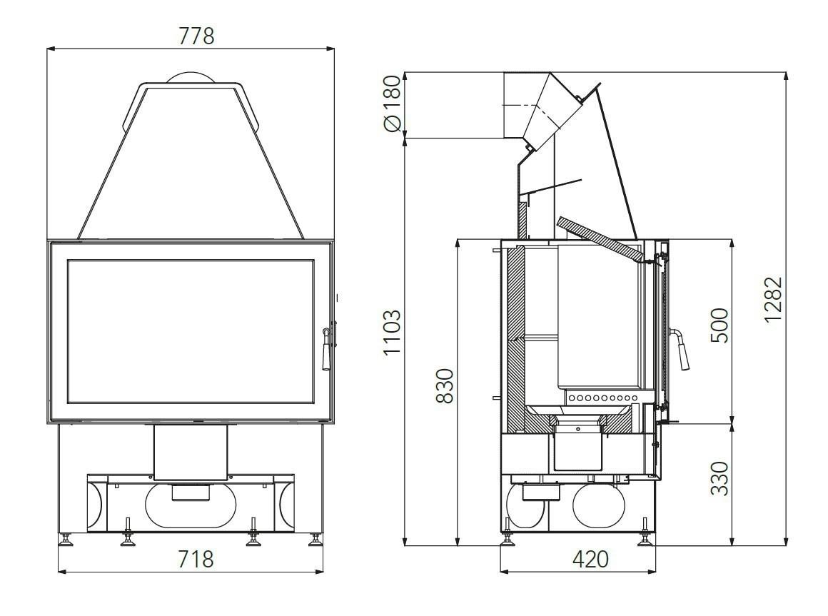 Kamineinsatz Haas+Sohn Komfort-IV 180.18 schwarz raumluftunabh. 8kW Bild 2