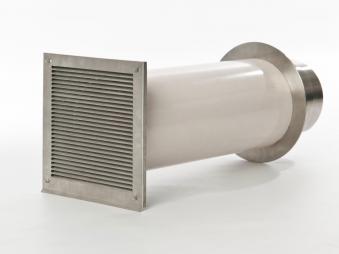 externer Luftanschluss Mauerdurchführung Einzelklappe 100mm Stutzen