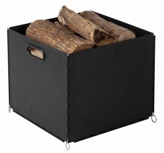 Holzkorb / Holzaufbewahrungssystem Metall Süd-Metall schw. 34x34x30cm Bild 1