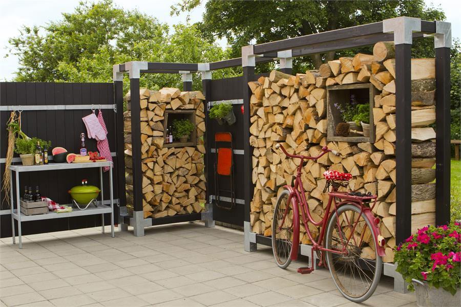 Kaminholzregal Brennholzregal Cubic Plus 206x50x188cm natur kdi Bild 2