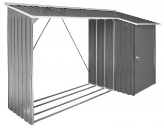 duramax kaminholzregal mit ger teschrank metall 262x100cm. Black Bedroom Furniture Sets. Home Design Ideas