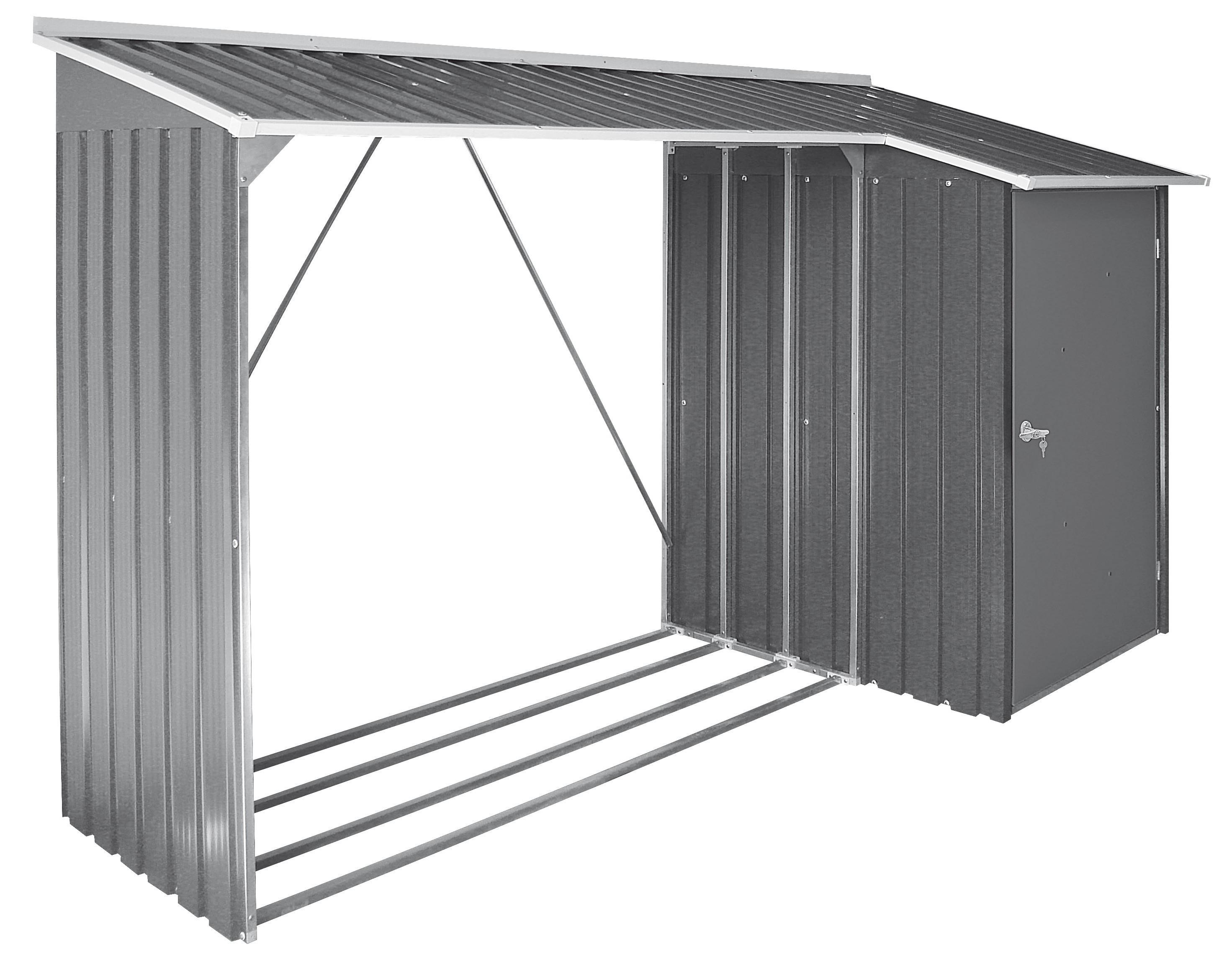 duramax kaminholzregal mit ger teschrank metall 262x100cm anthrazit bei. Black Bedroom Furniture Sets. Home Design Ideas