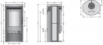Kaminofen / Dauerbrandofen Justus Baltrum D grau  Speckstein 5 kW Bild 2