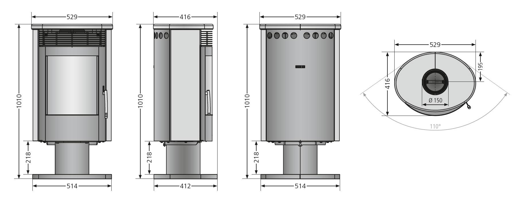 Kaminofen Justus Seeland raumluftunabhängig drehbar Sandstein 5kW Bild 2