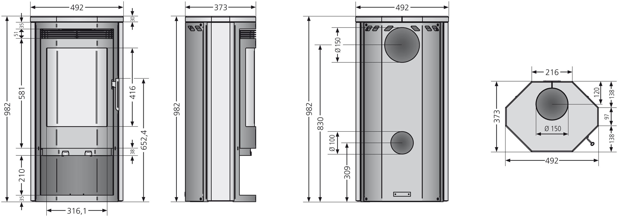 Kaminofen Justus Usedom 5 Speckstein grau raumluftunabhängig 5 kW Bild 2