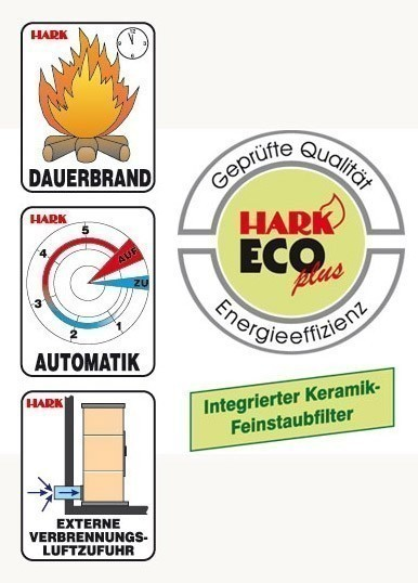 Dauerbrandofen Hark Avenso ECOplus bordeaux-rot raumluftunabhängig 6kW Bild 3