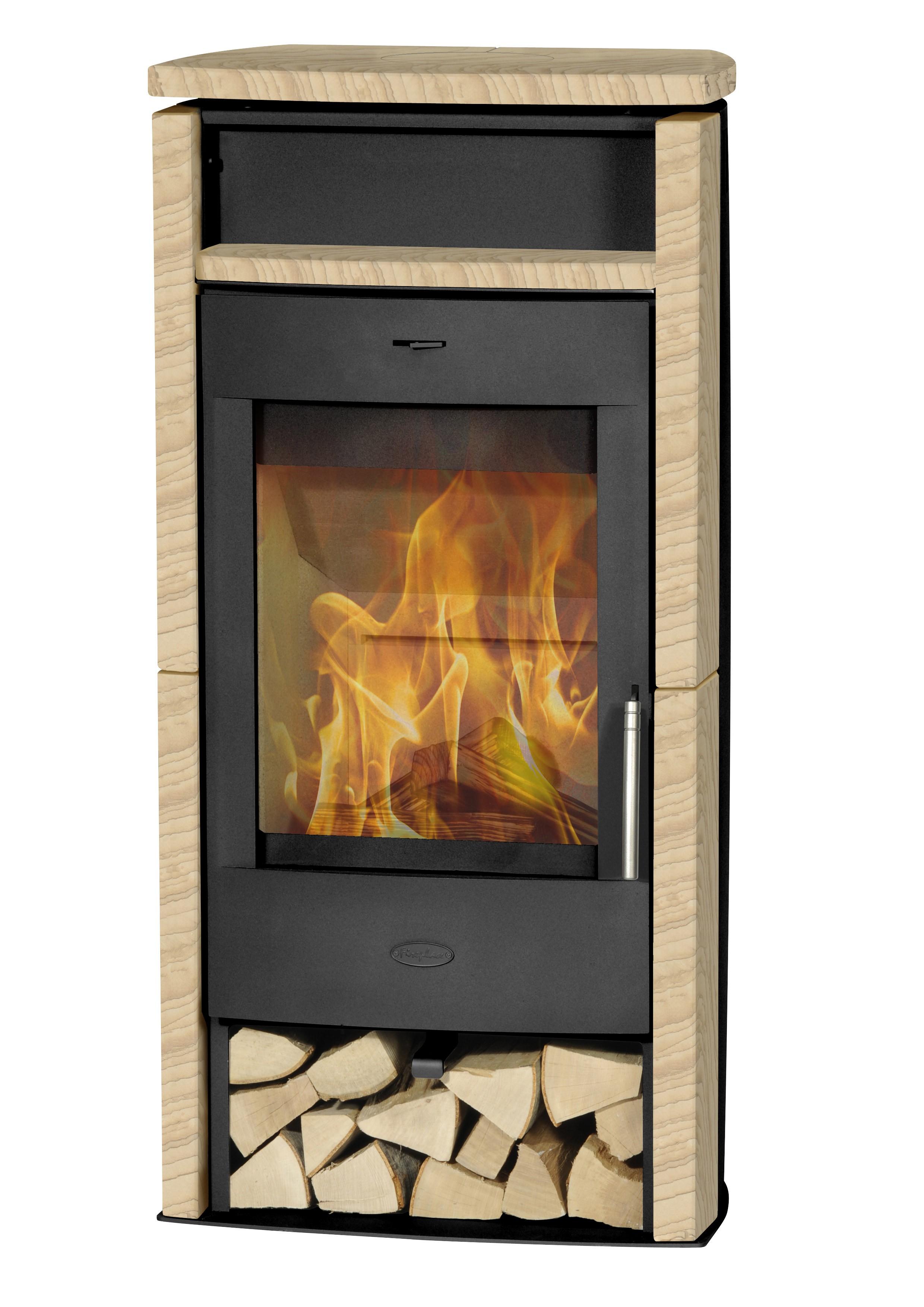 Kaminofen Fireplace Santiago schwarz Sandstein 6kW Bild 1