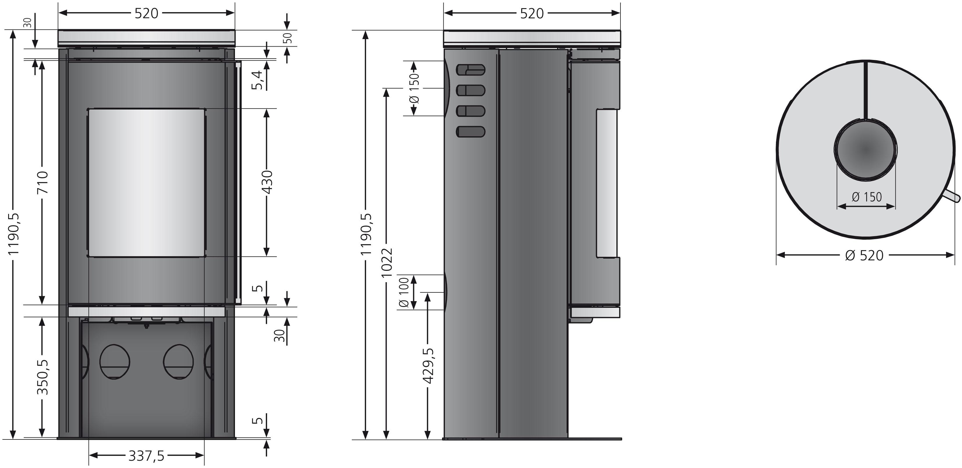 Kaminofen Justus Faro 2.0 raumluftunabhän. Stahl schwarz Kalkstein 6kW Bild 2