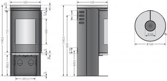 Kaminofen Justus Faro 2.0 raumluftunabhängig Stahl grau Speckstein 6kW Bild 2
