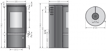 Kaminofen Justus Faro Top 2.0 raumluftunabh. Stahl schwarz Glas 6kW Bild 3