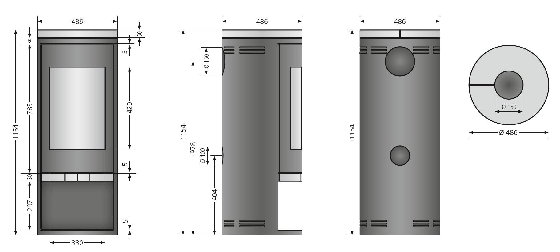 Kaminofen Justus Faro Raumluftunabhängig Schwarz Stahl 6kW Bild 3