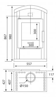 Kaminofen Wamsler Saturn gussgrau 6 kW Typ 10862 Bild 3