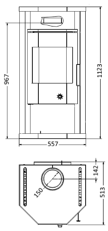 Kaminofen Wamsler Thyra gussgrau Naturstein 6kW Typ 10849 Bild 2
