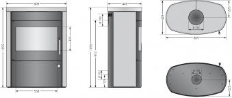 Kaminofen Justus Agero 2.0 raumluftunabhängig Speckstein schwarz 7kW Bild 4