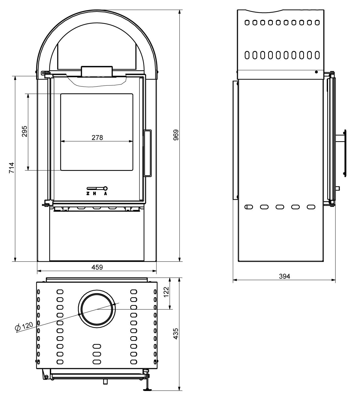 Wamsler Kaminofen Primo Stahl schwarz 7kW Bild 3