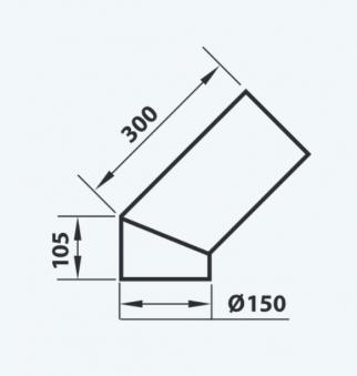 Ofenrohr / Rauchrohr Bogenknie 45° Ø150mm für Kaminofen Aduro 12