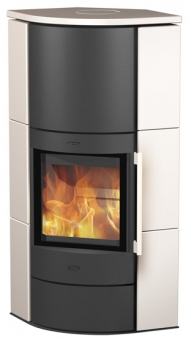 Kaminofen Fireplace / Eckkaminofen Adelaide schwarz Keramik weiß 6kW Bild 1