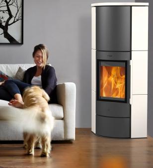 Kaminofen Fireplace / Eckkaminofen Adelaide schwarz Keramik weiß 6kW Bild 2