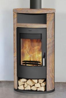 Kaminofen Fireplace Alicante Loticstone gussgrau 8kW mit Teefach Bild 1