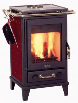 Kaminofen Fireplace Florenz Keramik Bordeaux mit Kochplatte 7kW Bild 1