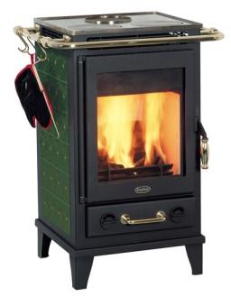 Kaminofen Fireplace Florenz Keramik Grün mit Kochplatte 7kW Bild 1