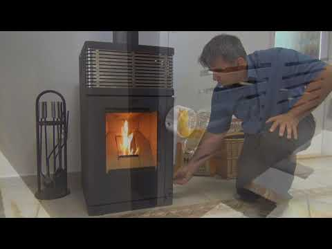 Pelletofen Fireplace Gravio schwarz Edelstahl 8kW Video Screenshot 2053