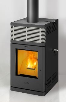 Pelletofen Fireplace Gravio schwarz Edelstahl 8kW Bild 1