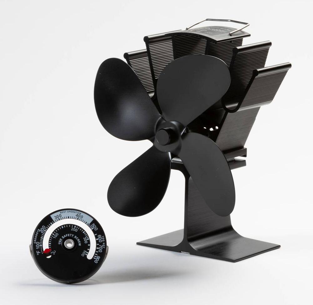 Ofen Ventilator mit Rauchrohr Thermometer Globe-fire Bild 1