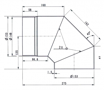 Ofenrohr Bogenknie Spezial 90° Ø 150mm schwarz Haas+Sohn Bild 3