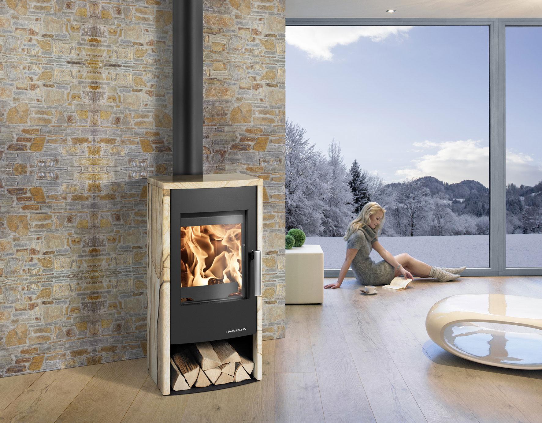 kaminofen haas sohn rubus schwarz woodstone 6kw bei. Black Bedroom Furniture Sets. Home Design Ideas