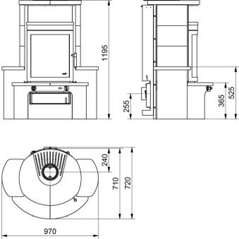 kaminofen dauerbrandofen hark avenso keramik bordeaux 7 kw bei. Black Bedroom Furniture Sets. Home Design Ideas