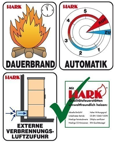Kaminofen / Dauerbrandofen Hark Avenso raumluftunabh. jola-braun 7 kW Bild 3