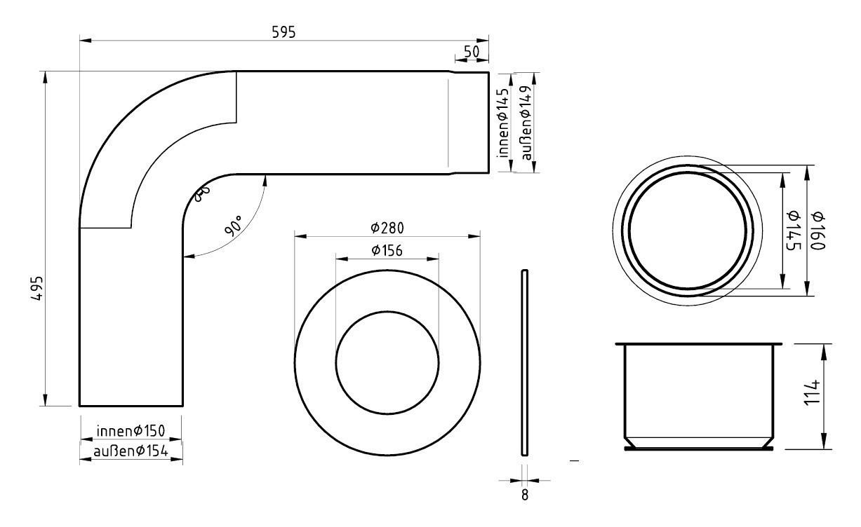 Ofenrohr / Rauchrohr - Set Ø150mm Fullform-Anschlussset graphit Bild 2