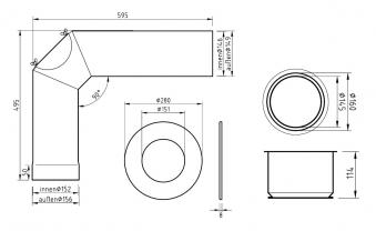 Ofenrohr / Rauchrohr - Set Ø150mm Standard-Anschlussset graphit Bild 2