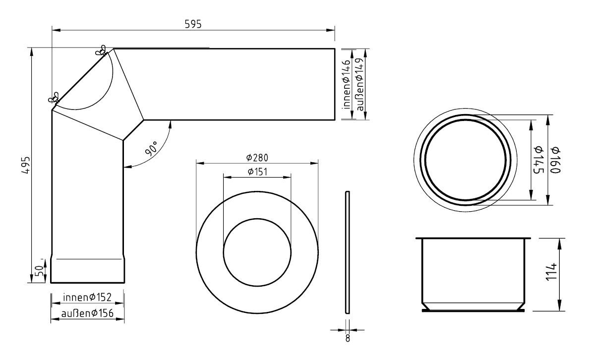 Ofenrohr / Rauchrohr - Set Ø150mm Standard-Anschlussset titan Bild 2