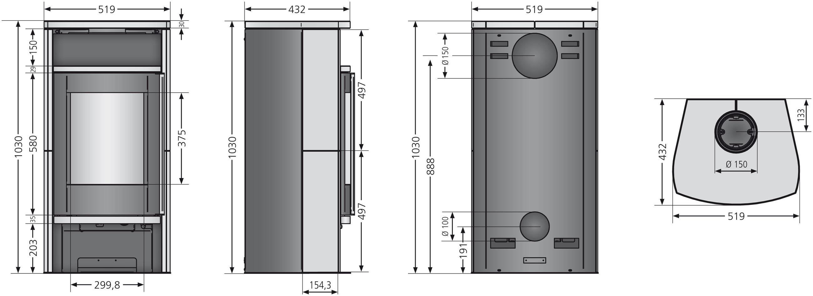 Kaminofen Justus Faro Aqua 2.0 wasserführend schwarz Speckstein 8,5kW Bild 2