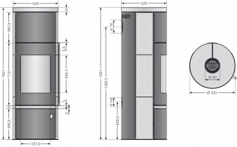 Kaminofen Justus Faro W+ 2.0 raumluftunabhä. schwarz Specksteinpl. 7kW Bild 3