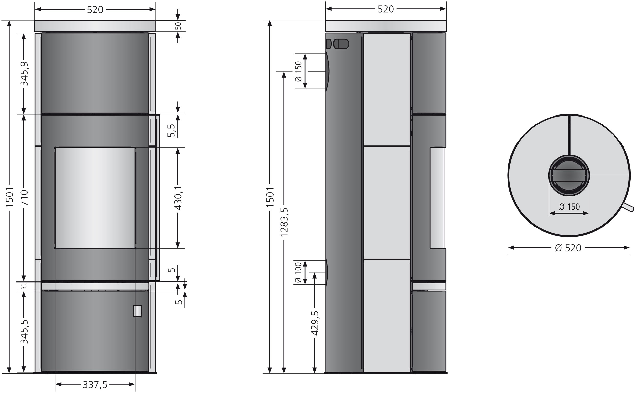 Kaminofen Justus Faro W+ 2.0 raumluftunabhängig Stahl schwarz 7kW Bild 3