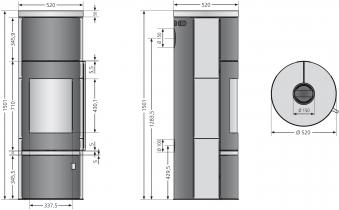 Kaminofen Justus Faro W+ 2.0 raumluftunabhängig grau Speckstein 7kW Bild 4