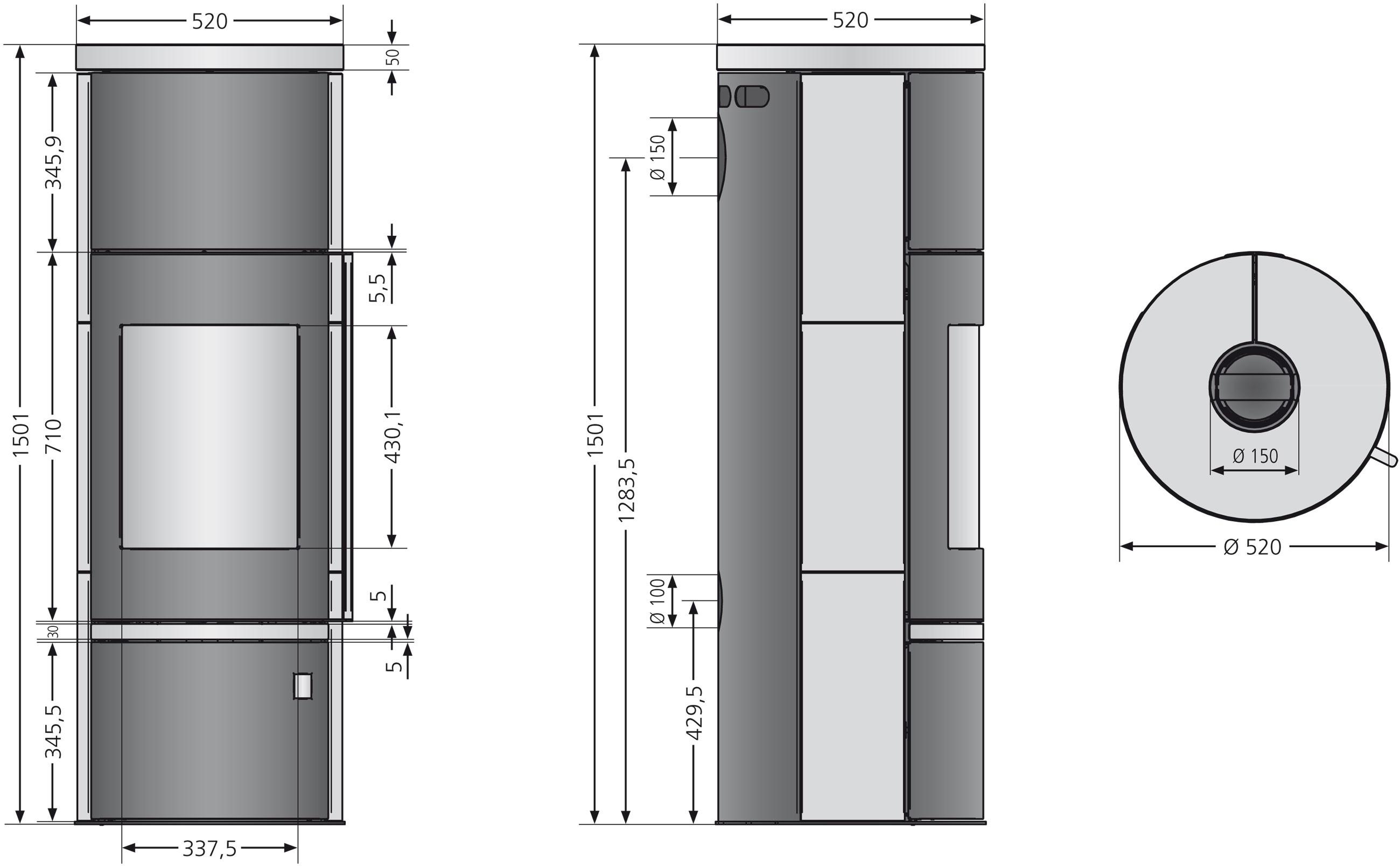 Kaminofen Justus Faro W+ 2.0 raumluftunabhängig schwarz Kalkstein 7kW Bild 4